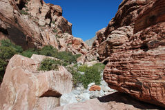 Ацтекское образование утеса камня песка около красного каньона утеса, южного Невады Стоковое Изображение RF