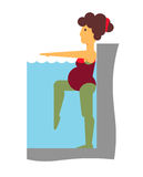 Аэробика воды для беременной Стоковые Фото