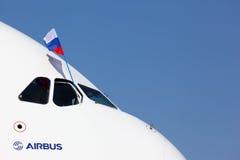 Аэробус A380 в Zhukovsky во время airshow MAKS-2011 Стоковые Изображения RF