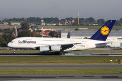 Аэробус A380 Люфтганзы Стоковые Изображения