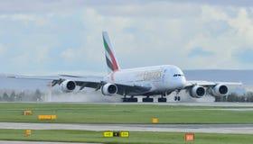 Аэробус A380 эмиратов Стоковое Изображение