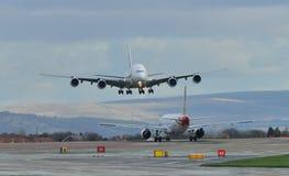 Аэробус A380 эмиратов Стоковые Изображения RF