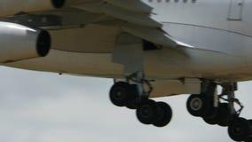 Аэробус A340 Srilankan приземляясь к Narita сток-видео
