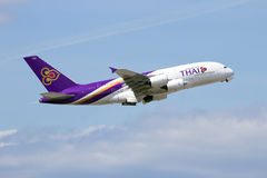 Аэробус 380 Thai Airways Стоковое Фото