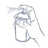Аэрозольный баллон в распылять руки иллюстрация вектора