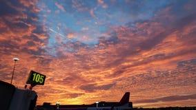 Аэропорт на заходе солнца стоковое фото rf