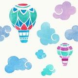 Аэростаты в небе Картина акварели вектора безшовная Стоковая Фотография