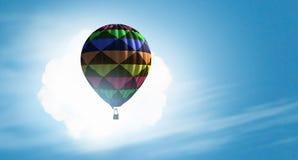 Аэростат плавая в небо дня Мультимедиа Стоковое Изображение