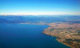 Аэрофотоснимок залива Антальи в Турции стоковое изображение