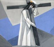 дают 2-ому крестному пути, Иисус его крест Стоковое Изображение