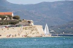 Аяччо, пляж, Корсика, Corse du Юг, южная Корсика, Франция, Европа Стоковое Изображение