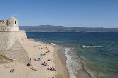 Аяччо, пляж, Корсика, Corse du Юг, южная Корсика, Франция, Европа Стоковые Изображения
