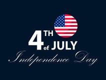 4-ая независимость июль дня Патриотическая поздравительная открытка, праздник США вектор Стоковое Изображение