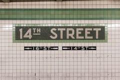 14-ая станция метро улицы - Нью-Йорк Стоковые Изображения