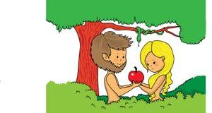 Адам и Eve держа яблоко бесплатная иллюстрация
