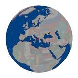 Албания на политическом глобусе Стоковые Фото