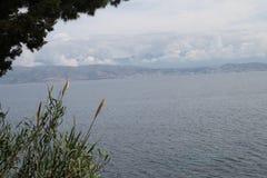 Албания от Kassiopi, Греции Стоковая Фотография RF