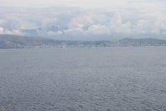 Албания от Kassiopi, Греции Стоковое фото RF