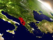 Албания с флагом в восходящем солнце Стоковые Изображения RF