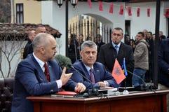Албанский премьер-министр Edi Rama и премьер-министр Hashim Thaci Косова Стоковые Изображения