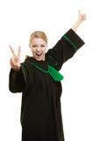 Адвокат женщины делая большой палец руки победы знака вверх показывать Стоковое Изображение RF