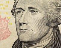 Александр Гамильтон на США 10 долларов конца кредитки вверх Стоковое Фото