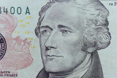 Александр Гамильтон смотрит на на долларах макроса счета США 10 или 10, блока Стоковые Изображения