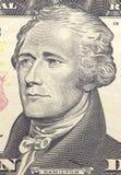 Александр Гамильтон смотрит на на долларах макроса счета США 10 или 10, крупного плана денег Соединенных Штатов стоковые изображения