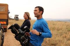 Алекс Кроуфорд и оператор от Sky News, покрывая событие Стоковое фото RF