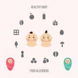 Аллергены на кормя грудью установленных значках Стоковое Изображение RF