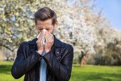 Аллергия, весна, человек Стоковая Фотография