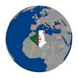 Алжир на политическом глобусе Стоковое Фото