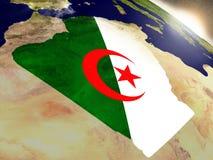 Алжир с флагом в восходящем солнце Стоковые Фотографии RF