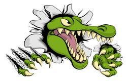 Аллигатор или крокодил ломая через стену бесплатная иллюстрация