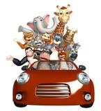 Аллигатор, обезьяны, медведь, слон, жираф, гиппопотам, кенгуру, обезьяна, Racc Стоковая Фотография