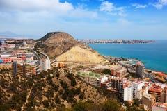 Аликанте от высокой точки в пасмурном дне Испания Стоковое Изображение
