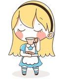 Алиса в чае платья страны чудес голубом милая иллюстрация Стоковое Изображение RF