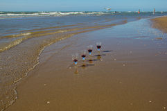 Алкогольные напитки и пляж Стоковые Изображения RF