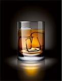 Алкогольный напиток с льдом в темной окружающей среде Стоковые Изображения RF