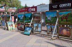 Алма-Ата Arbat Пешеходная улица Jibek Joly зоны Стоковое фото RF