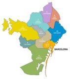 Административная и политическая карта каталонской столицы Барселоны Стоковое Фото