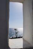 2 ладони с морем на предпосылке Стоковые Фотографии RF