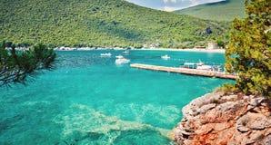 Адриатическое море Черногория Lustica полуострова пляжа Zanjic вида на море Стоковое Изображение