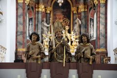 Алтар в церков Neumunster коллигативной в Wurzburg, Германии Стоковое Фото