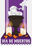 Алтар для & x22; Dia de Muertos& x22; с ладаном, свечами и лепестками, иллюстрацией вектора иллюстрация вектора