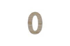 0 алфавитов сделанных от изолированной древесины на белой предпосылке Стоковая Фотография RF