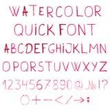 Алфавит акварели вектора с номерами и Стоковое Изображение