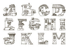 Алфавит английского языка, письма в домах формирует Fo нарисованный рукой стоковые изображения rf