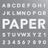Алфавит белой бумаги с тенью Стоковые Изображения