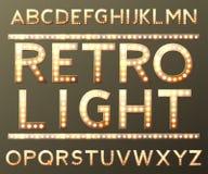 Алфавит вектора золотой с лампами шарика Стоковая Фотография